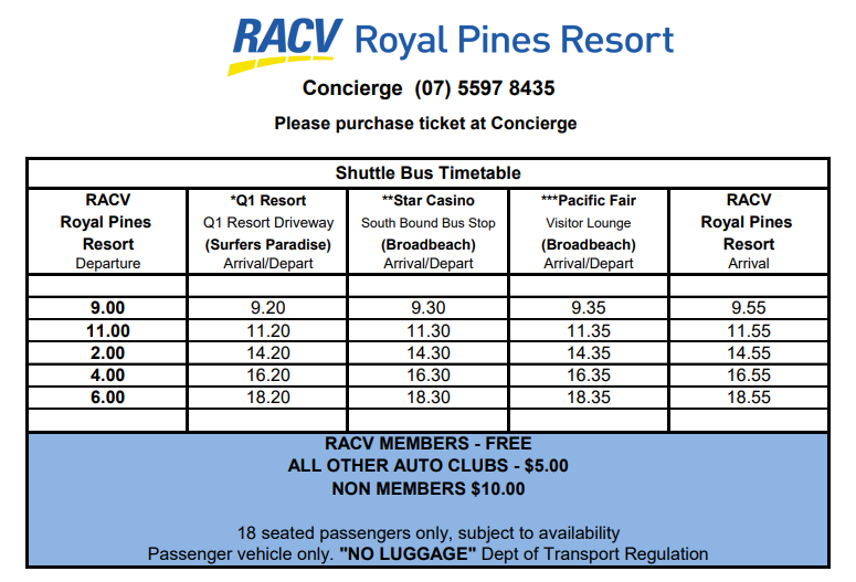 Royal Pines Gold Coast Shuttle Timetable
